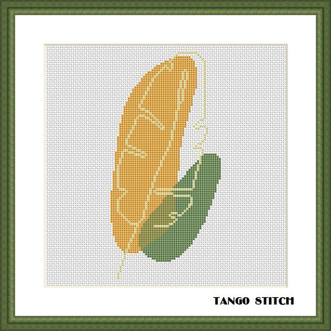 Abstract leaf orange green herbal cross stitch pattern