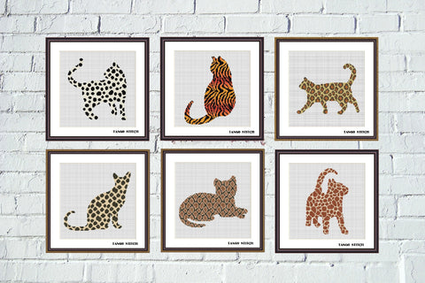 Animal print ornament cats cross stitch Set of 6 patterns, Tango Stitch