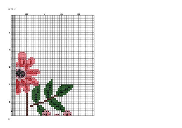 Anti-Social funny cross stitch pattern floral frame - Tango Stitch
