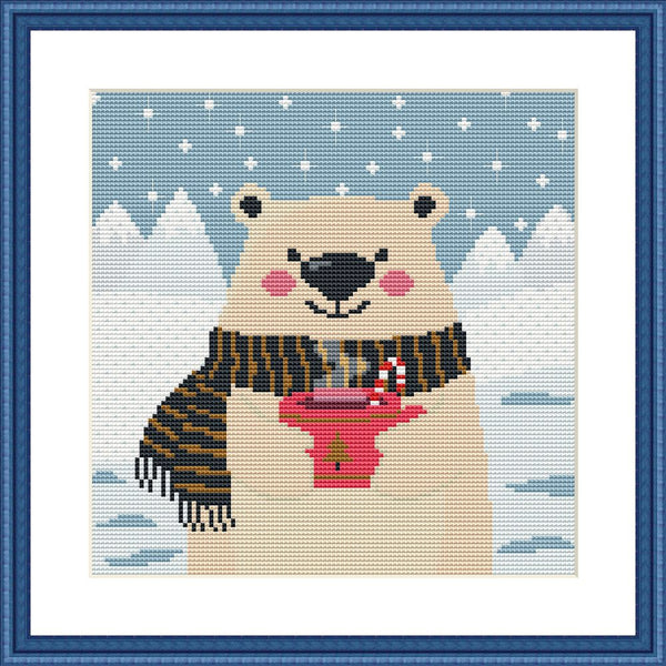 Cute bear animal cross stitch pattern Arctic landscape embroidery design