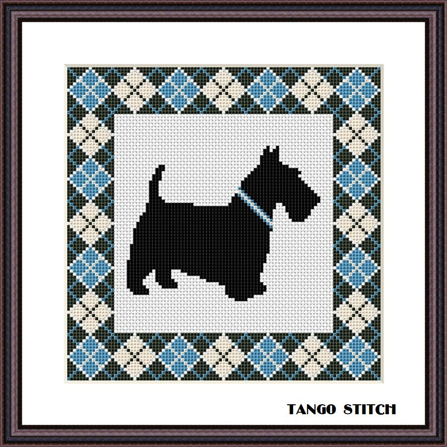 Blue argyle Scottish Terrier cute dog cross stitch pattern
