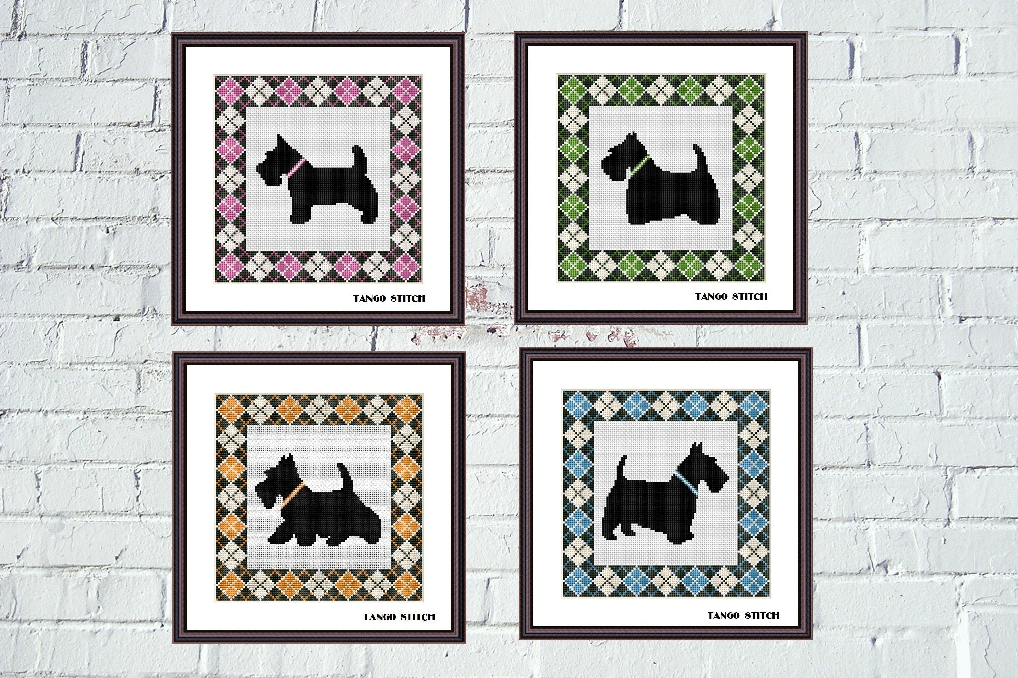 Argyle Scottish Terrier cute dogs cross stitch Set of 4 patterns Tango Stitch