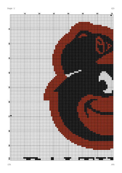 Baltimore Orioles cross stitch pattern - Tango Stitch