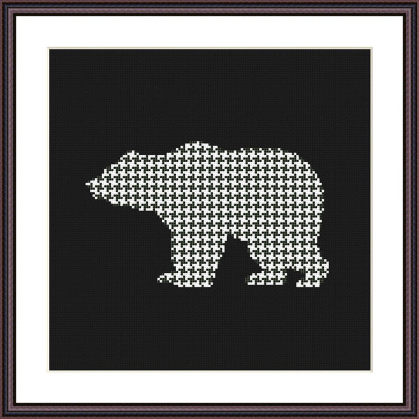Bear geometric ornament cross stitch pattern