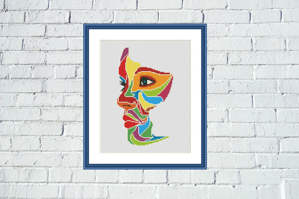Beautiful woman abstract Pop Art colorful cross stitch pattern