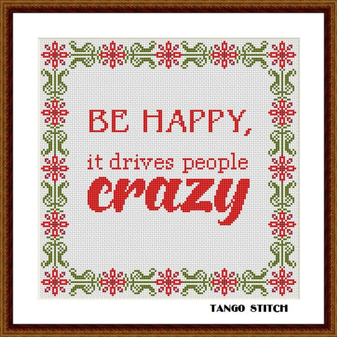 Be happy birthday funny cross stitch pattern