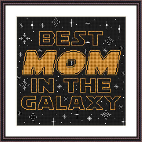 Best mom of the galaxy cross stitch pattern - Tango Stitch