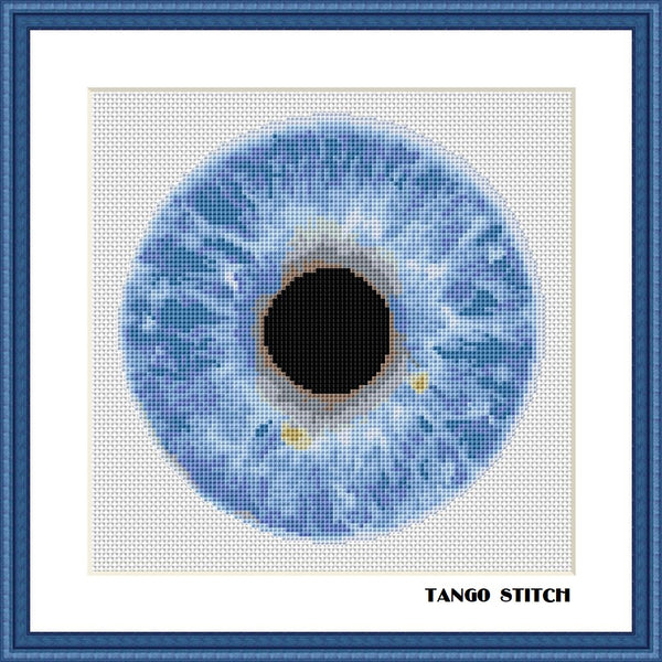 Blue eye cross stitch pattern - Tango Stitch