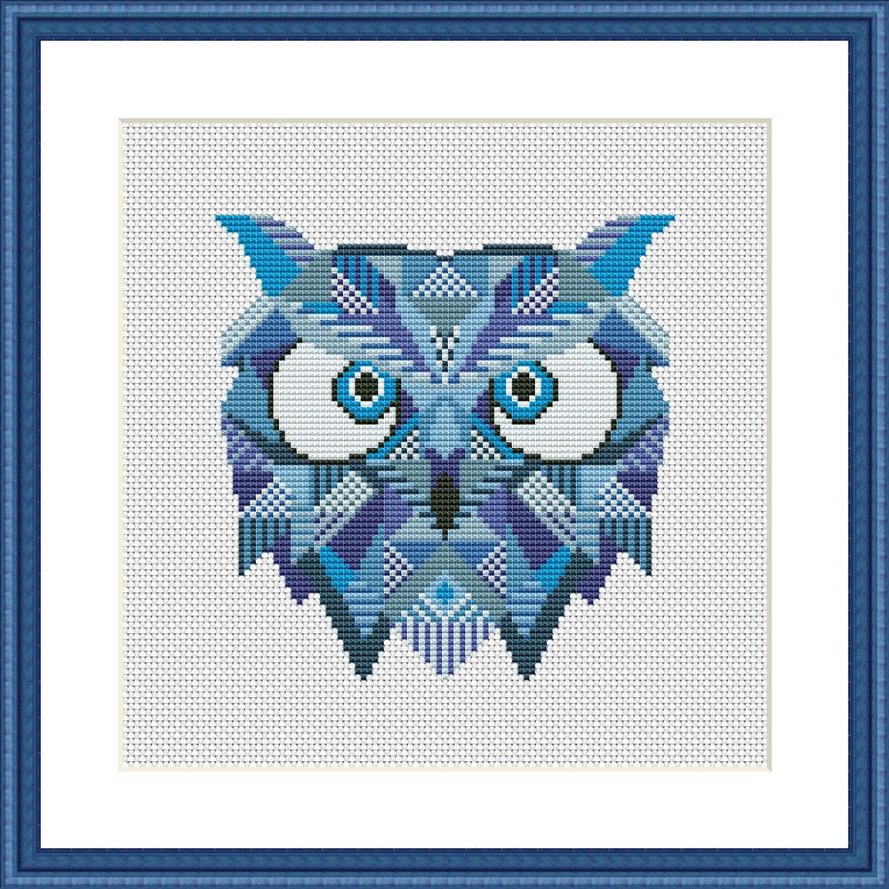 Blue owl mandala cross stitch pattern - Tango Stitch