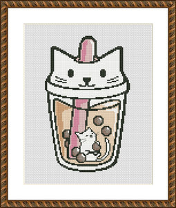 Boba tea cat cute animals cross stitch pattern - Tango Stitch