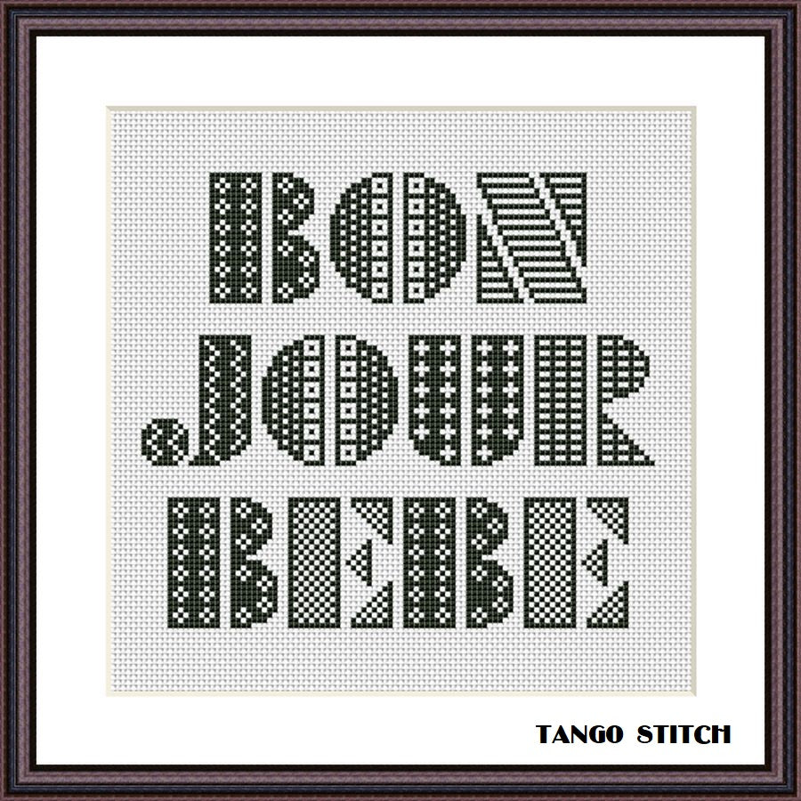 Bonjour Bebe lettering cross stitch pattern, Tango Stitch