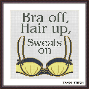 Bra off funny sassy feminist cross stitch pattern - Tango Stitch