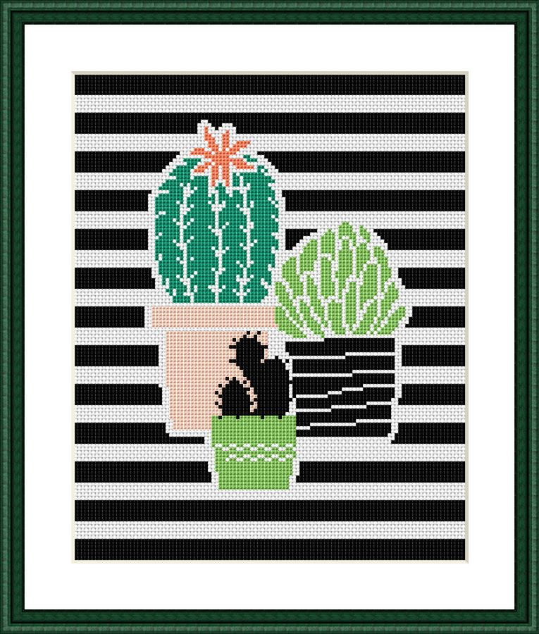 Cactus striped flowers cross stitch pattern - Tango Stitch
