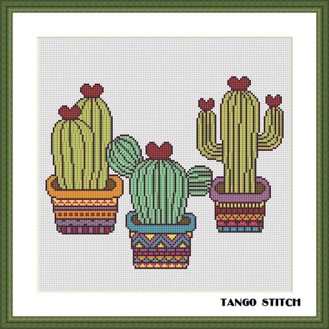 Funny cactuses easy cross stitch pattern