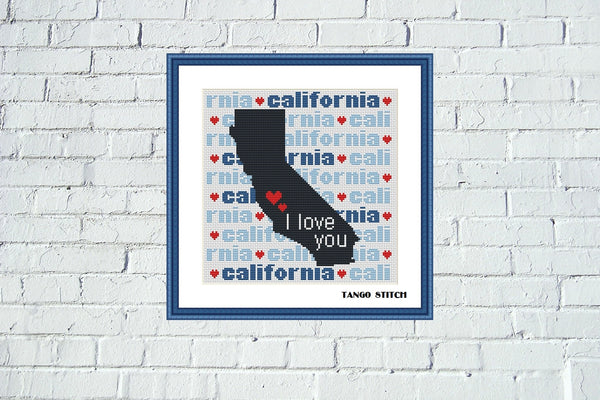 California state map typography cross stitch pattern - Tango Stitch