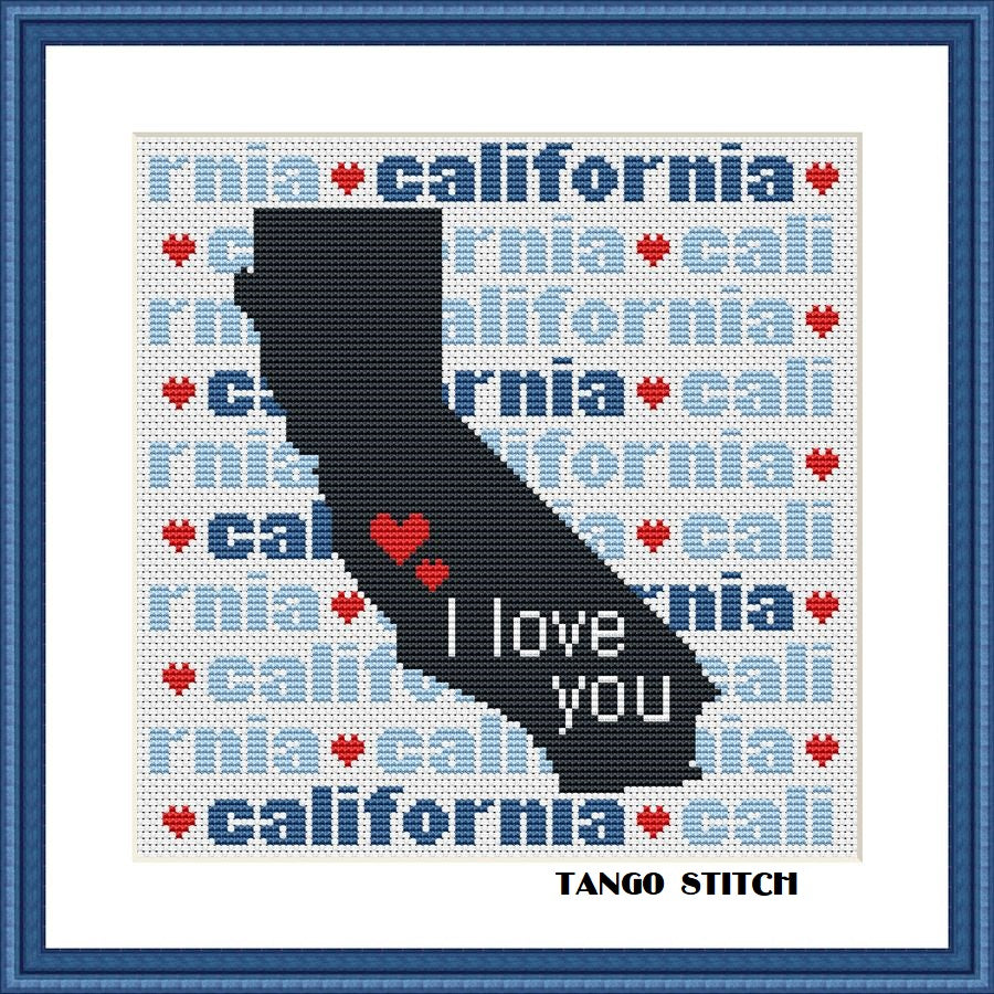 California state map typography cross stitch pattern