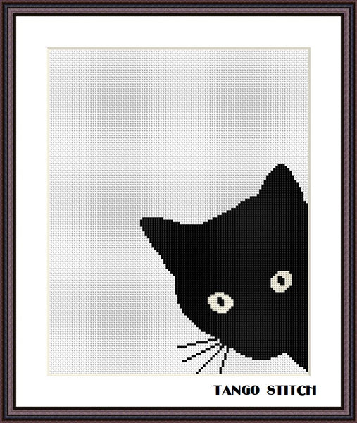 Black cat cute animals cross stitch pattern 2 pcs/set Right and left cats