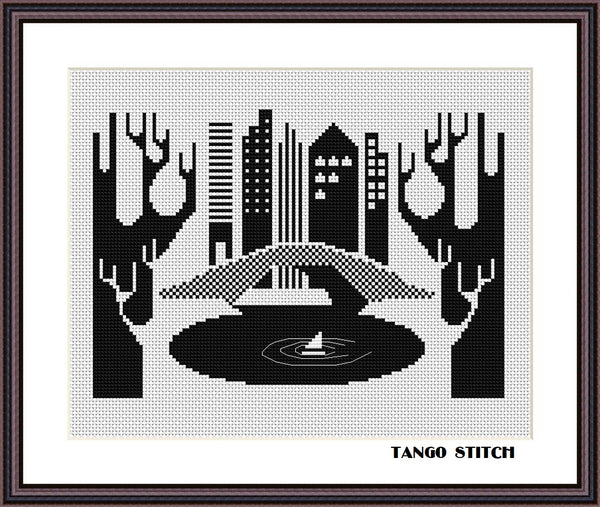 New York Central park black and white cross stitch pattern - Tango Stitch