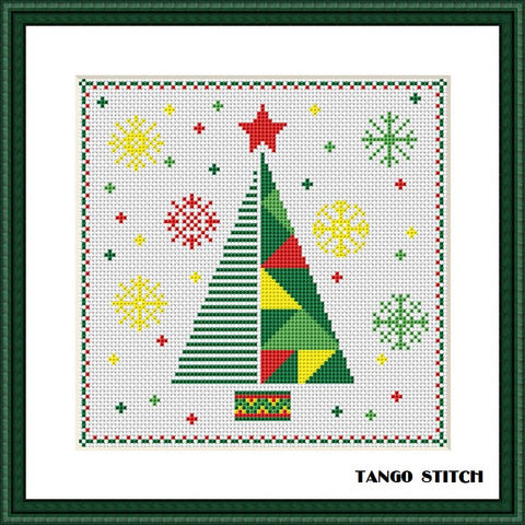 Geometric abstract Christmas tree cross stitch pattern