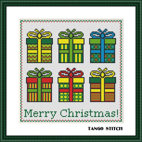 Simple gift boxes Christmas cross stitch pattern