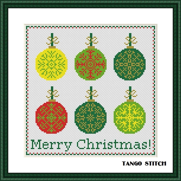 Simple Christmas cross stitch patterns Set of 4pcs New Year designs