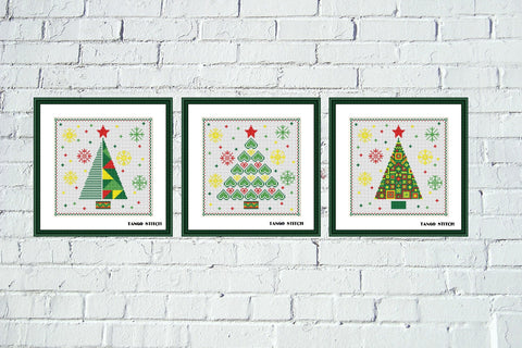 Christmas tree cross stitch patterns Set of 3pcs Cute New Year designs