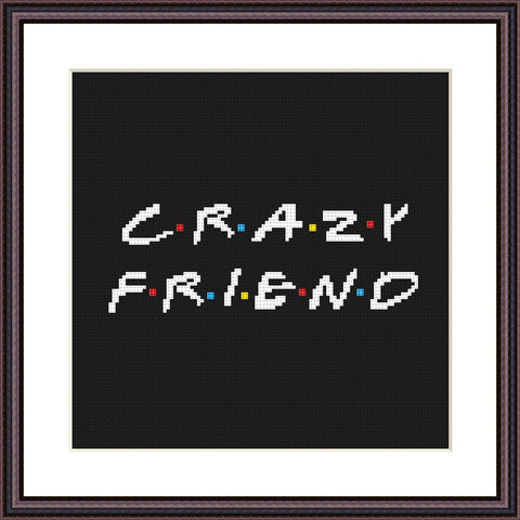Crazy friend funny cross stitch pattern - Tango Stitch