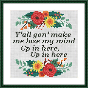 DMX Up In Here Lyrics cross stitch pattern