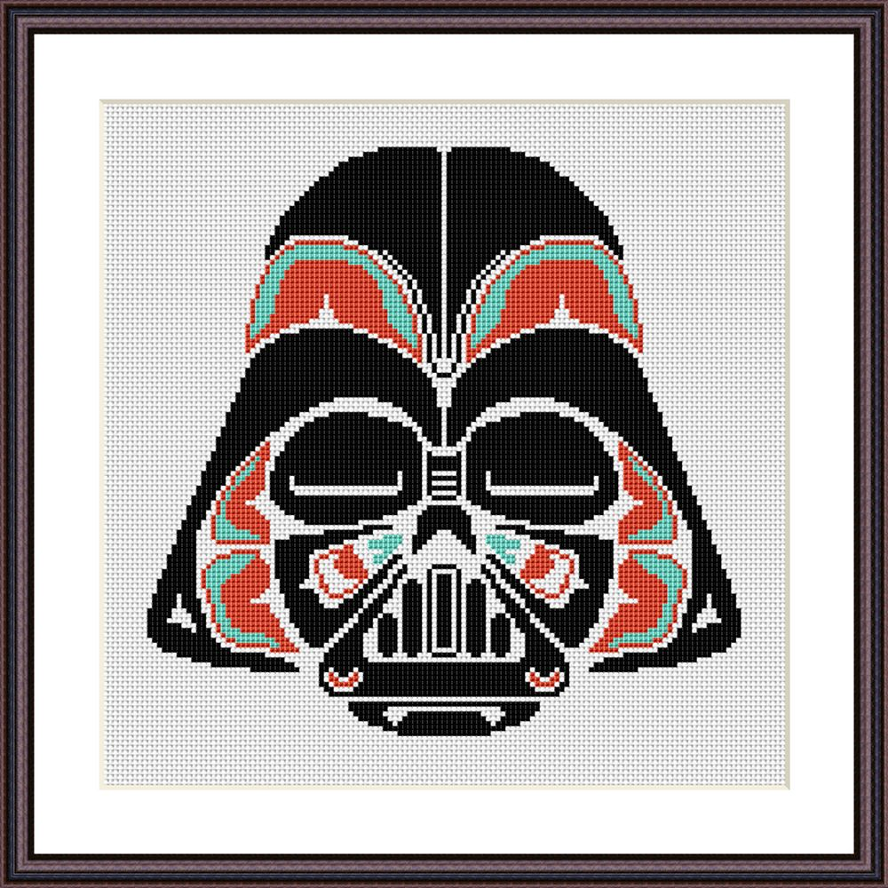 Star Wars Darth Vader helmet Rustic ornament cross stitch pattern