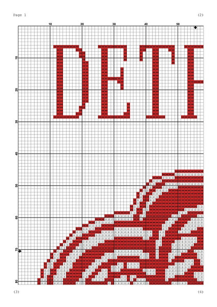 Detroit Red Wings cross stitch pattern