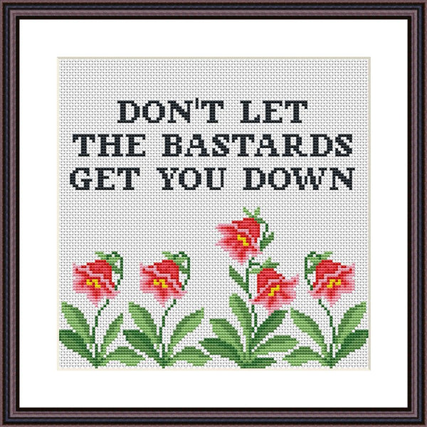 Don't let the bastards get you down funny cross stitch pattern