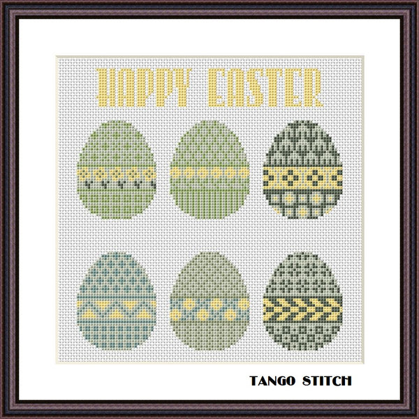 Easter eggs ornament cross stitch pattern, Tango Stitch