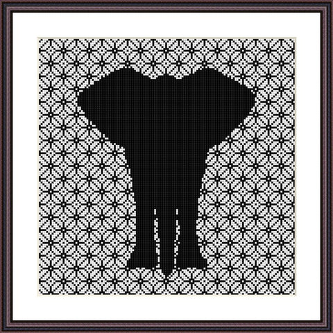 Elephant cute animals ornament cross stitch pattern