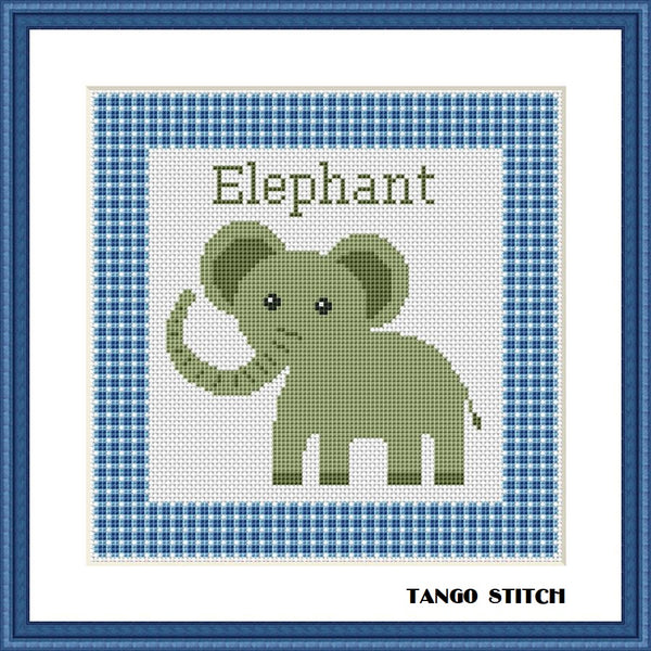 Elephant nursery cartoon cross stitch pattern