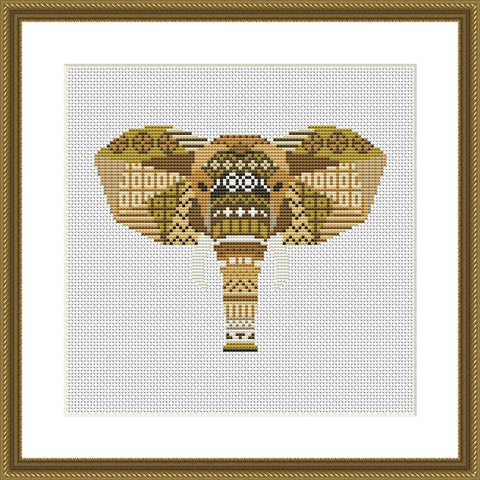Elephant brown mandala cross stitch pattern