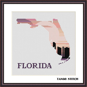 Florida state map skyline silhouette sunset cross stitch pattern