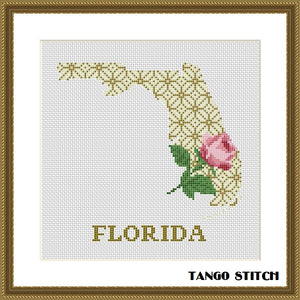 Florida map cross stitch pattern