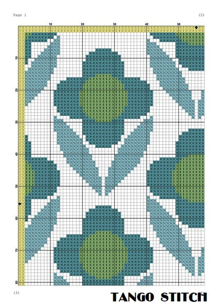 Blue flower ornament cross stitch pattern