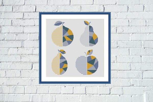 Fruits geometric kitchen cross stitch pattern