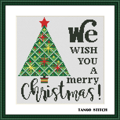Geometric christmas tree cross stitch pattern