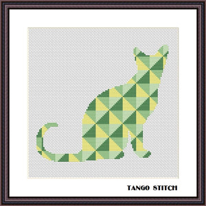 Cat geometric cross stitch pattern