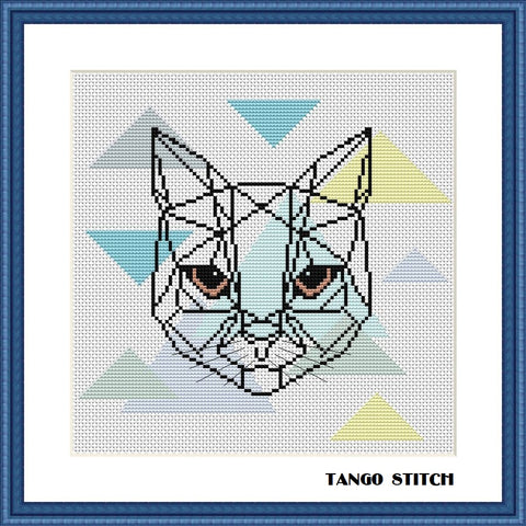 Geometric cat scandinavian pastel abstract cross stitch pattern