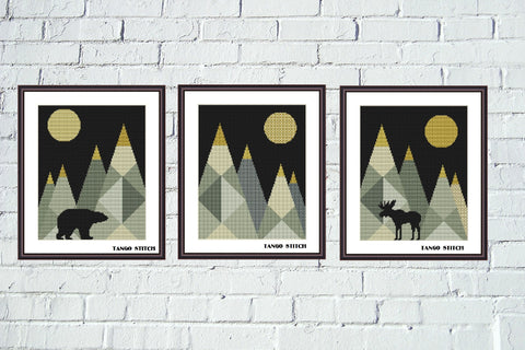 Geometric mountains cross stitch Set of 3 abstract designs sale