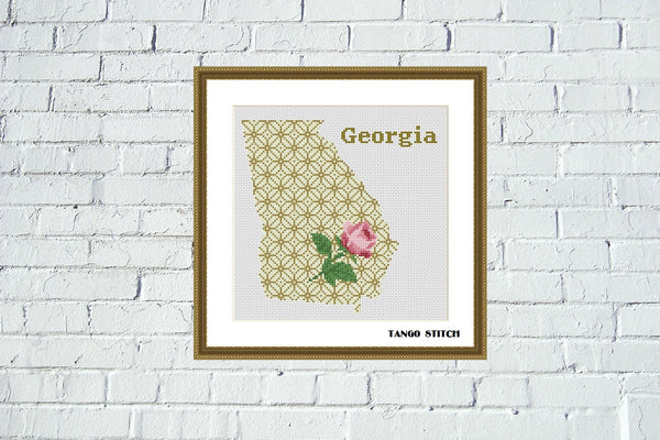 Georgia USA state map silhouette cross stitch pattern, Tango Stitch