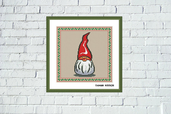 Cute Gnome cross stitch pattern Christmas ornament embroidery - Tango Stitch