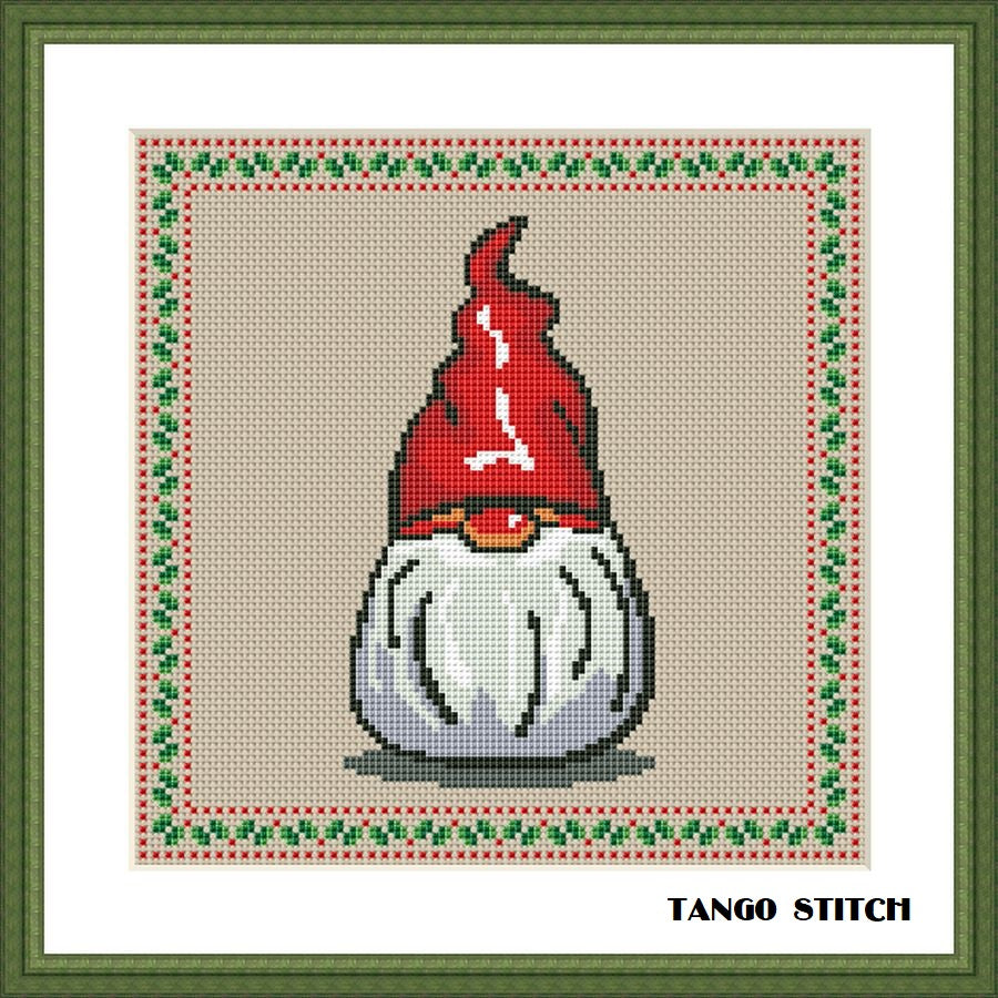 Winter Gnome Christmas ornament cross stitch pattern