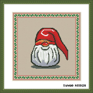 Cute Christmas Gnome cross stitch pattern - Tango Stitch