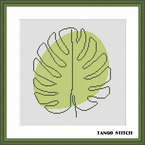 Abstract green monstera leaf cross stitch pattern
