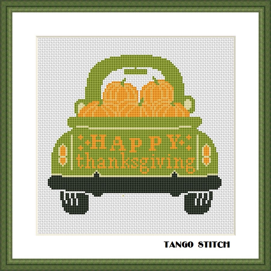 Happy thanksgiving funny pumpkins cross stitch pattern