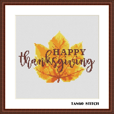 Happy thanksgiving watercolor maple leaf cross stitch pattern